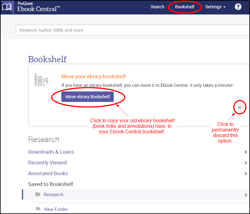 Ebook Central screenshot showing option to transfer bookshelf from ebrary