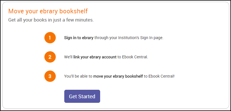 Ebook Central screenshot showing steps to transfer bookshelf from ebrary