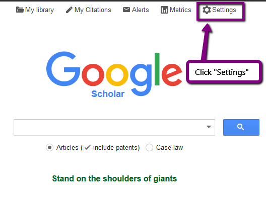Screenshot. Google Scholar main page