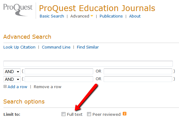 ProQuest advanced search with arrow pointing to full text box