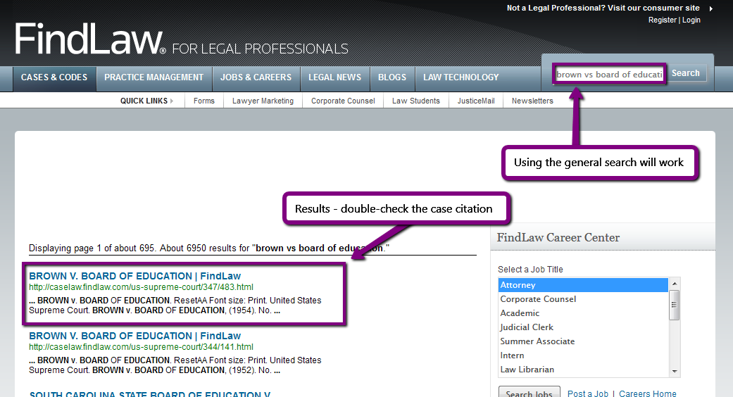 screenshot illustrating instructions from bulleted list (FindLaw)