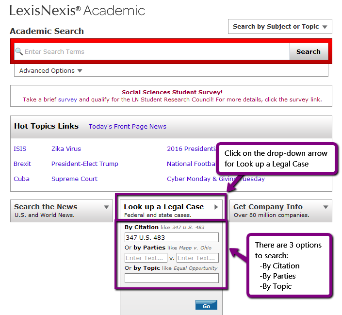 screenshot illustrating instructions for searching according to case citation - 1 of 2