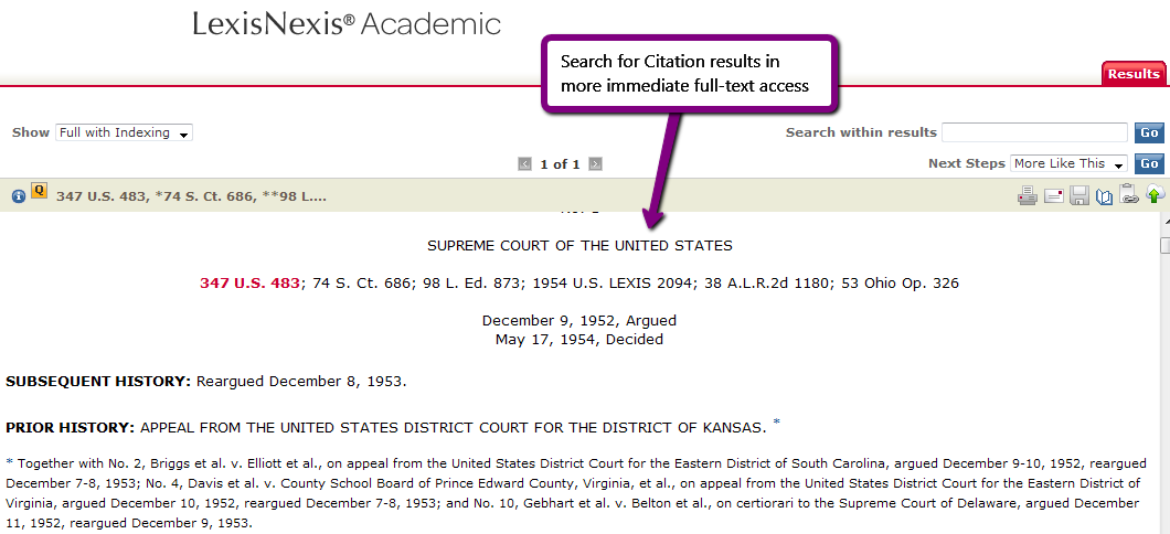 screenshot illustrating instructions for searching according to case citation - 2 of 2