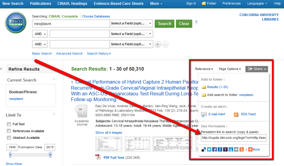 "EBSCO search results page pointing to ""Share"" button"