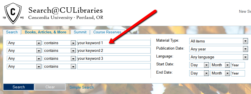 database search bars with keywords