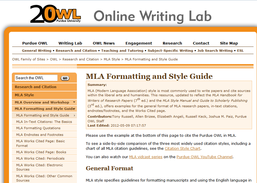 Purdue Online Writing Lab MLA Formating and Style Guide