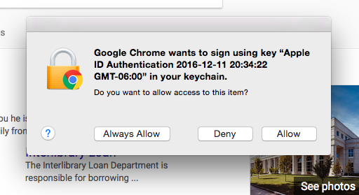 Always Allow, Deny, or Allow a certificate from the Apple Keychain