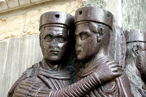 "The tetrarchs (from the Greek words for ""Four rules"") were the four co-rulers that governed the Roman Empire as long as Diocletian's reform lasted. Here they were portraied embracing, in sign of harmony, in a porphyry sculpture dating from the 4th century, produced in Asia Minor, today on a corner of Saint Mark's in Venice"