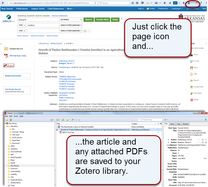 Click the arrticleicon in your browser bar to add a single articleto your Zotero library.