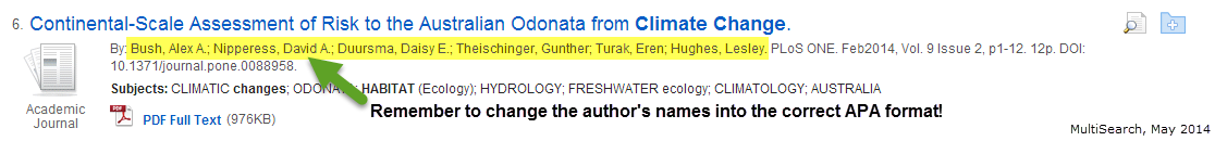 An example of 3 to 5 authors in MultiSearch.  Remember to change the author's names into the correct APA format.