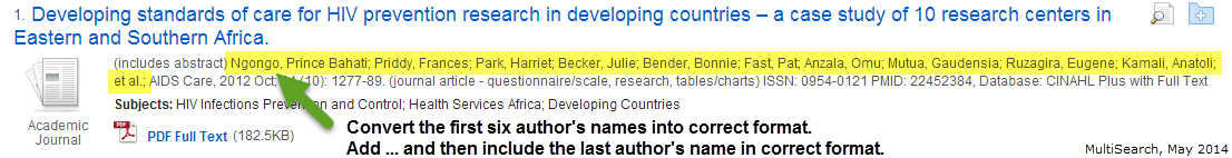 For sources with more than 7 authors, include the first six authors and the very last author