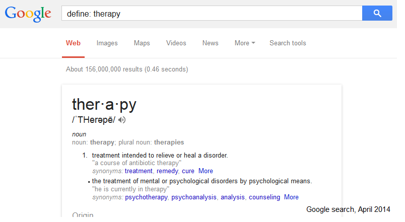 "Sample Google definition search for ""therapy"""