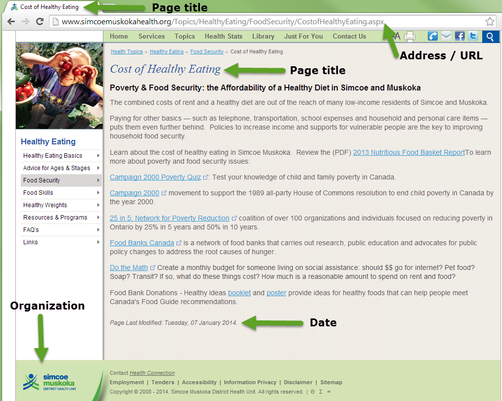 This screenshot illustrates some of the typical places you can look for parts of a website citation