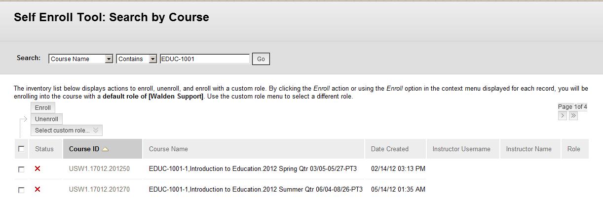 Blackboard self enroll screen