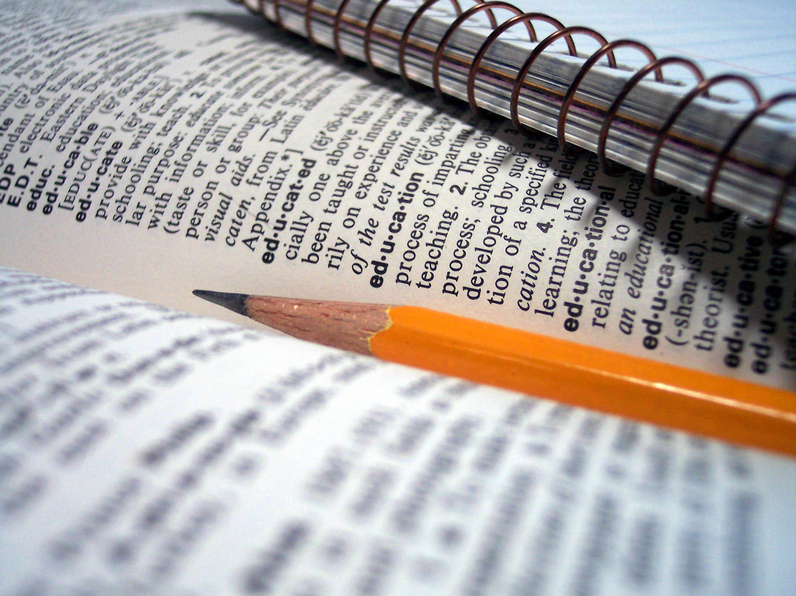 An image of a pencil, notebook and dictionary