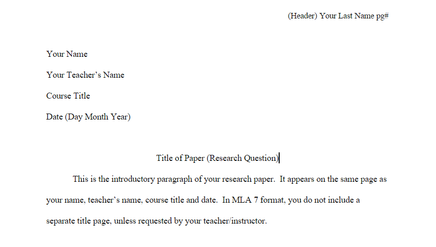 research paper headers