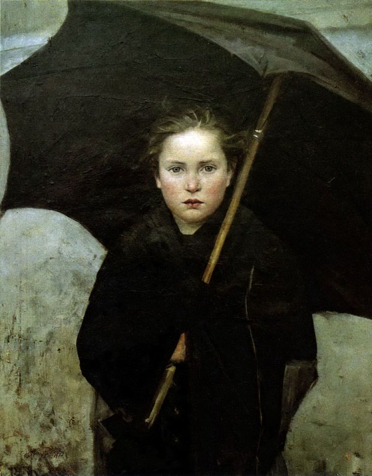 painting of a woman under an umbrella