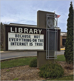 photo of library advertising board