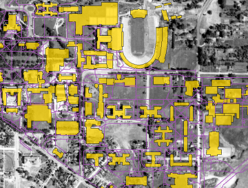 1938 aerial image of CU Boulder campus (USFS) with 2014 overlay of campus structures and sidewalks.