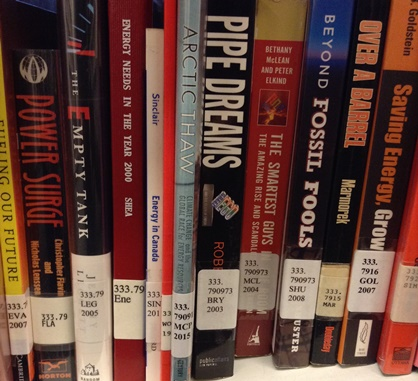 Photograph of books on the shelf