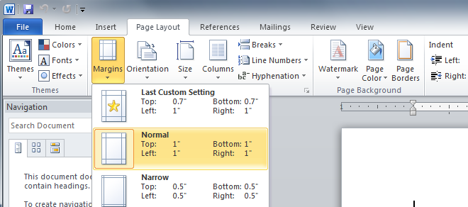 setting document margins