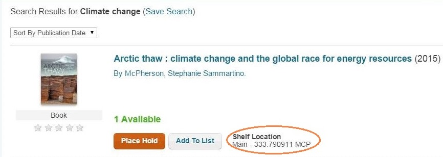 Screenshot from library catalogue with call number circled