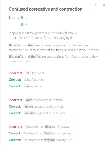 Correction Card Examples - Access Grammarly@EDU - Kreitzberg Library