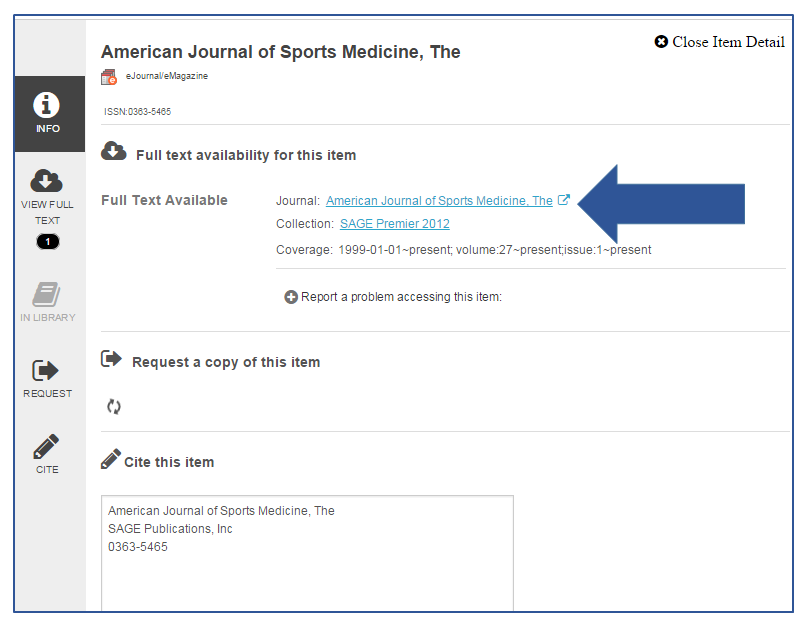 "Journal search results page with arrow pointing to journal title link in the middle of the page under phrase ""full text availability for this item:."