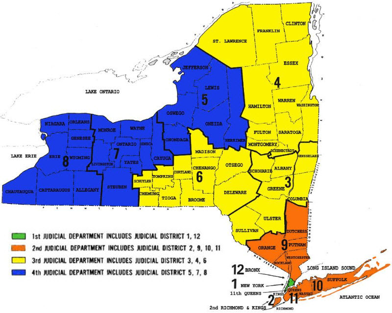 Judicial Department and districts in NYS map