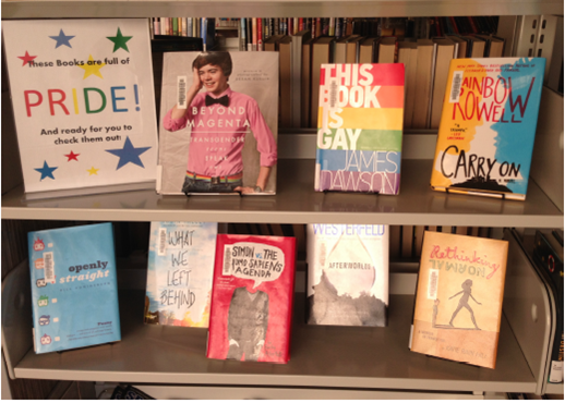 shelves of books with LGBTQQ* themes