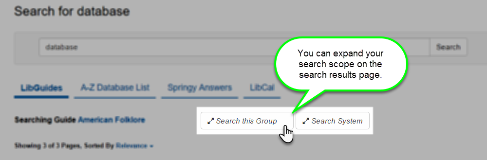 Expand search to the whole group or entire system