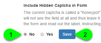 Screenshot of the Include Hidden Captcha in Form option