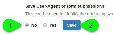 Screenshot of the Save User-Agent of Form Submissions field