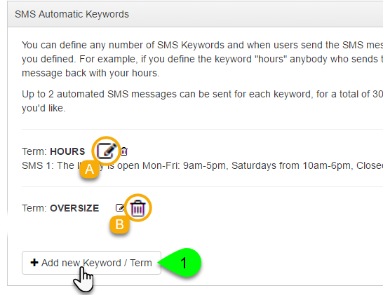 Screenshot highlighting the options for adding, editing, and deleting keywords