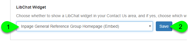 Example of selecting an in-page LibChat Widget