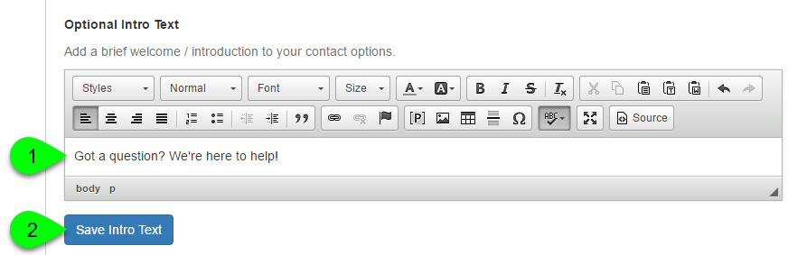 "Example of customizing the intro text of the ""Contact Us"" box"