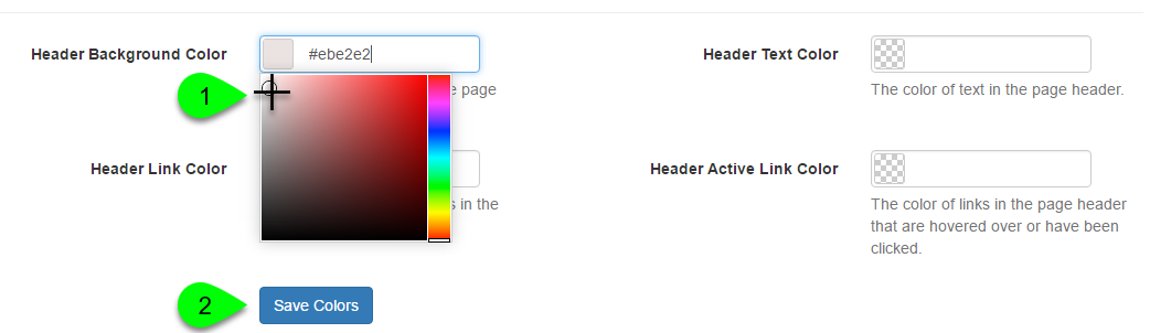 Example of selecting header colors