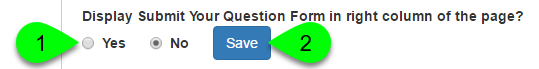 Example of customizing the question form display option