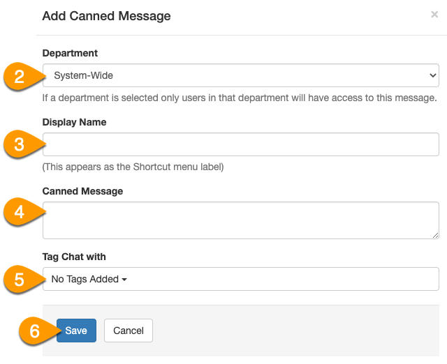 Example of how to configure a canned message