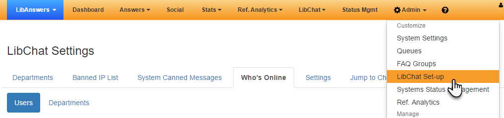 "Screenshot showing how to access the ""Who's Online"" page of the LibChat Settings."