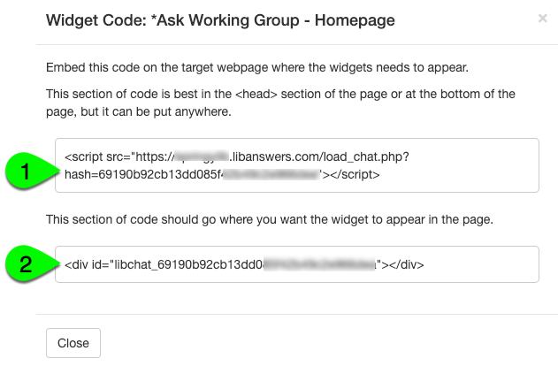 Example of a widget's embed code