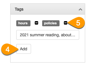 Example of adding and removing tags