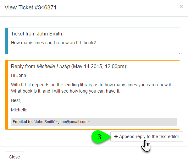 Example of appending a ticket reply
