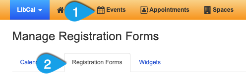 Example of getting to the Registration Forms page
