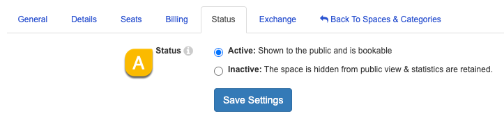 Example of the space Status settings