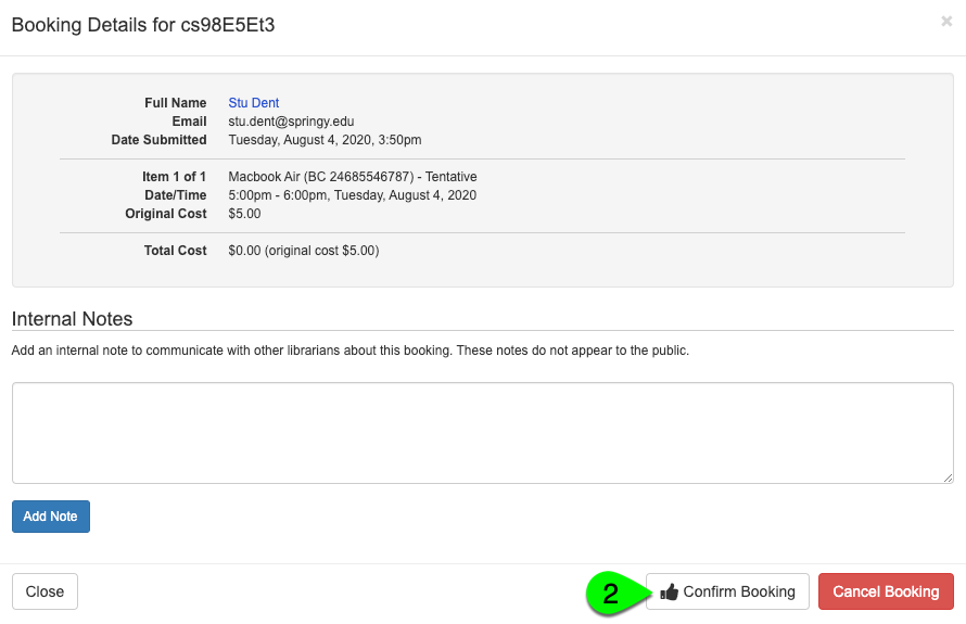 step 2 of confirming a tentative booking from the booking explorer table