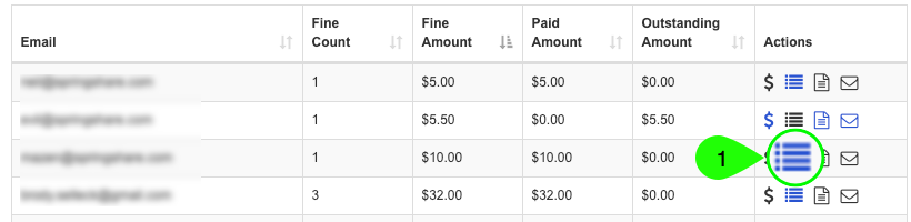 Screenshot highlighting the View Payment History icon