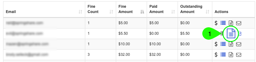 Screenshot highlighting the Generate Invoice icon