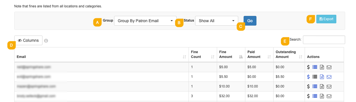 Example of viewing and filtering fines