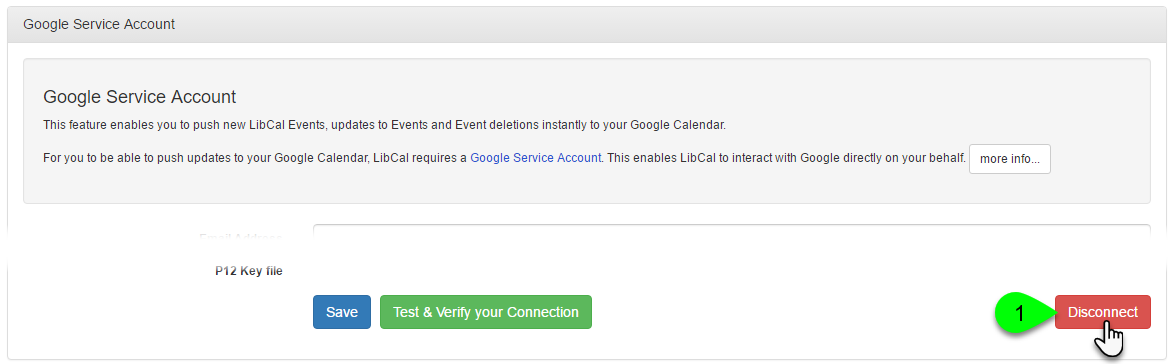 Example of disconnecting your Google Calendar